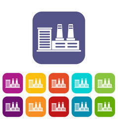 Power plant icons set vector