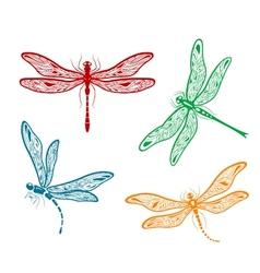Pretty dainty dragonfly designs vector image