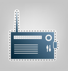 Radio sign blue icon with vector