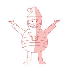 Red shading silhouette cartoon full body fat santa vector