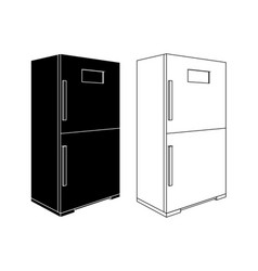 refrigerator black and white outline icons vector image