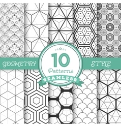 Set of 10 Seamless Geometric Lines Pattern vector image vector image