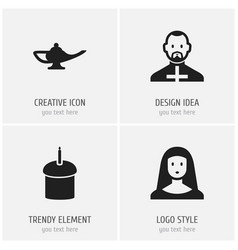 set of 4 editable dyne icons includes symbols vector image