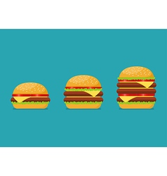 Three hamburgers set vector image vector image