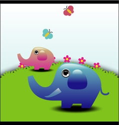 Two elephants vector image vector image