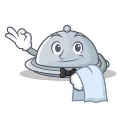 Waiter tray character cartoon style vector