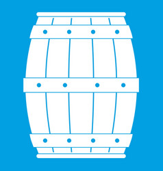 Wooden barrel icon white vector