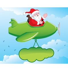 Santa in aeroplane vector