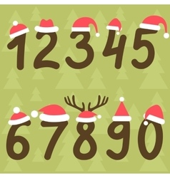 Numbers from zero to nine with santa hats vector