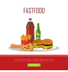 Fast food banner isolated on white background vector