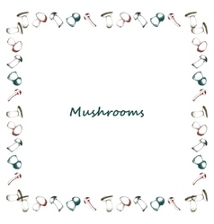 Mushrooms arranged in frame vector