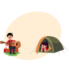 Camping kids - boy and girl playing guitar and vector