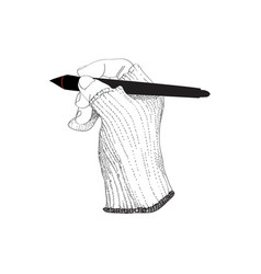 Graphic glove digital pen vector