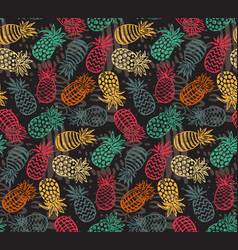 Seamless pattern with ornate pineapple vector