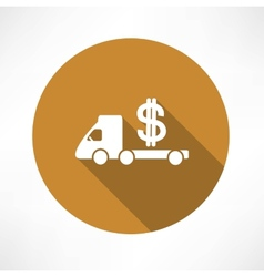 Car truck with money icon vector