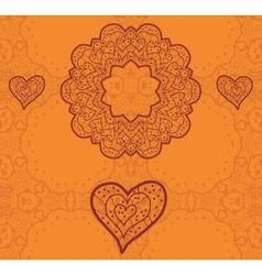 Valentine card design Ornamental orange flyer Love vector image