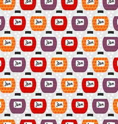 Seamless pattern with jam jars background texture vector