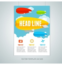 Hot air ballons with clouds brochure flyer vector