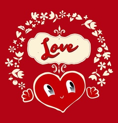 Gift on valentines day heart vector