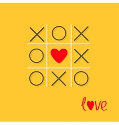 Tic tac toe game with cross and red heart sign vector