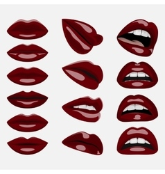 Set of glossy dark red lips vector