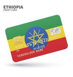Credit card with ethiopia flag background for bank vector