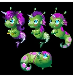 Cute characters unusual green fish unicorns vector image