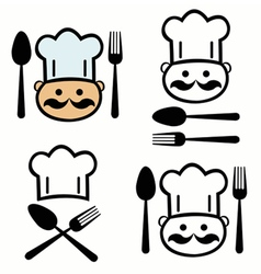 Set of chef with fork and spoon vector