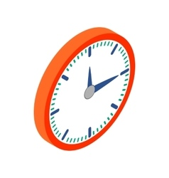 Wall clock with red rim icon isometric 3d style vector