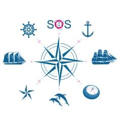 Set of nautical symbols vector