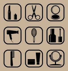 Beauty simple icons set vector