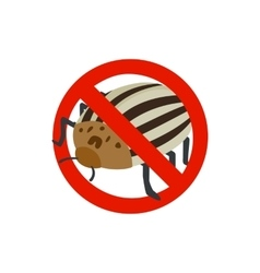 Warning sign with colorado potato beetle icon vector
