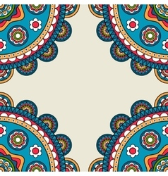 Indian rossetes doodle hippie frame vector