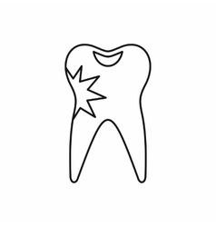 Cracked tooth icon outline style vector
