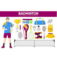 badminton sport equipment game player garment vector image vector image