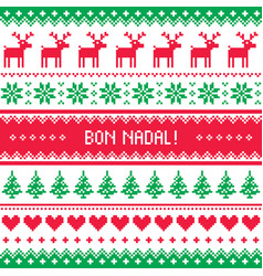 bon nadal greeting card - merry christmas in catal vector image vector image