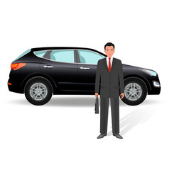 Businessman on a luxury crossover car background vector