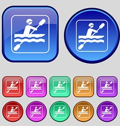 canoeing icon sign A set of twelve vintage buttons vector image vector image