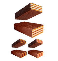 chocolate wafer 3d photo realistic set vector image vector image