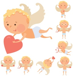 Cupid angels set vector image