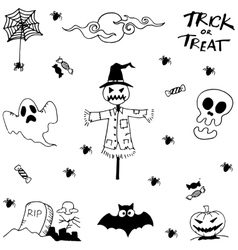 Doodle halloween scary with hand draw vector