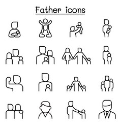 Father icon set in thin line style vector