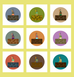 Flat icons set of cracked earth and plant drink vector