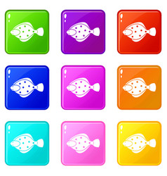 Flounder fish icons 9 set vector