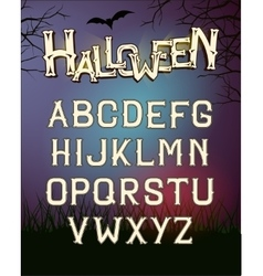 Halloween font letters poster with dark vector