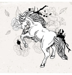 Hand drawn monochrome sketch horse vector image vector image