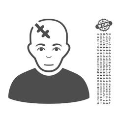 Head Hurt Icon With Bonus vector image