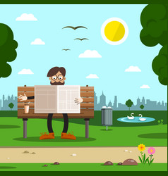 man on bench in city park flat design cartoon vector image