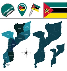 Mozambique map with named divisions vector