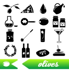 olives and olives product theme black simple icons vector image vector image